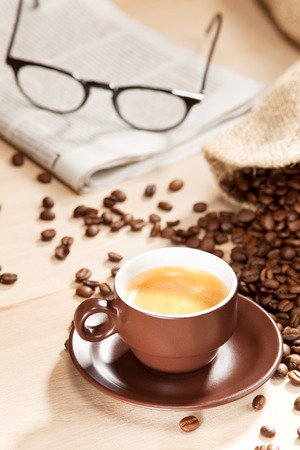 reading material: Coffee enjoyment with classic reading material Stock Photo
