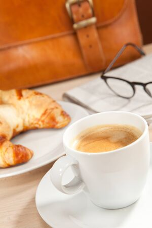 intellectually: Caffeine and news for breakfast Stock Photo