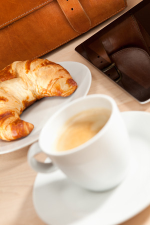 information age: Breakfast with coffee, croissant and Tablet PC