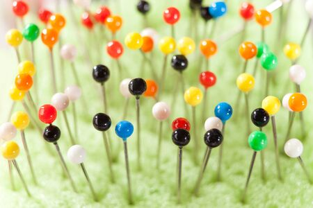 pinhead: Close-up view of many colored pins