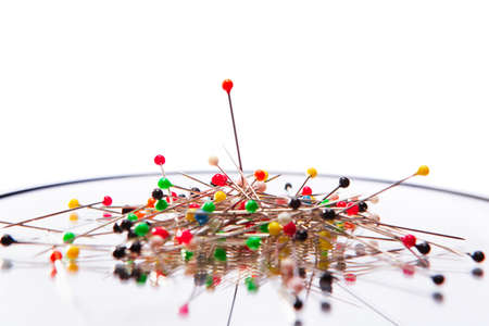 pinhead: Pile of many colored pins Stock Photo