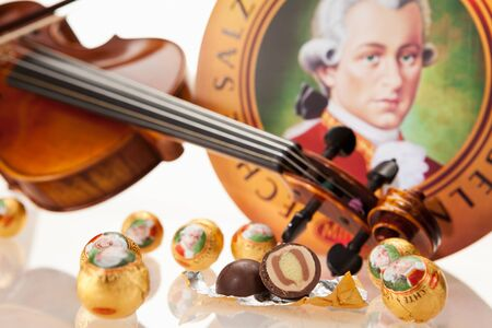 amadeus: AUSTRIA - MARCH 10, 2015: Echte Salzburger Mozartkugen by Mirabell. Typical Austrian sweets, named after the composer Wolfgang Amadeus Mozart.