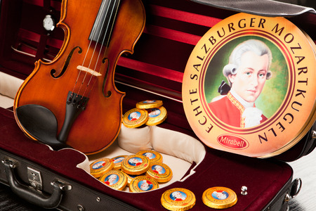 amadeus: AUSTRIA - MARCH 10, 2015: Echte Salzburger Mozartkugen and Salzburger Mozarttaler by Mirabell. Typical Austrian sweets, named after the composer Wolfgang Amadeus Mozart.