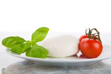 Basil, mozzarella and tomatoes as Italian flag Stok Fotoğraf