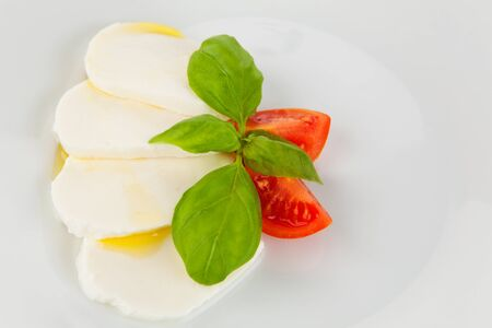 Mozzarella salad served artfully with olive oil