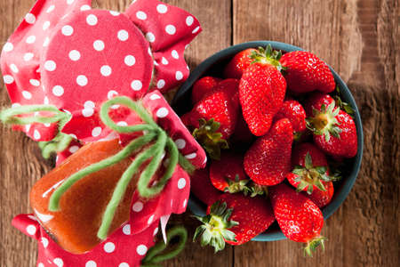 strawberry jam: Homemade strawberry jam with fresh fruits Stock Photo
