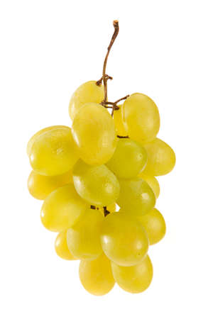 raisin vin: Green wine grapes isolated against white background Banque d'images