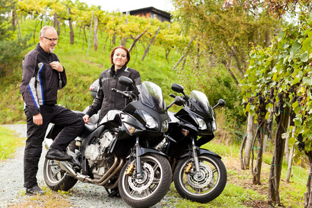 joyride: Two motorcyclists in an idyllic countryside Stock Photo