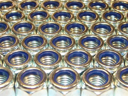 Rows of Engineering nuts                               photo