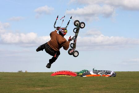 Kite boarder on Westbury White Horse Wiltshire Engliand with room for text photo
