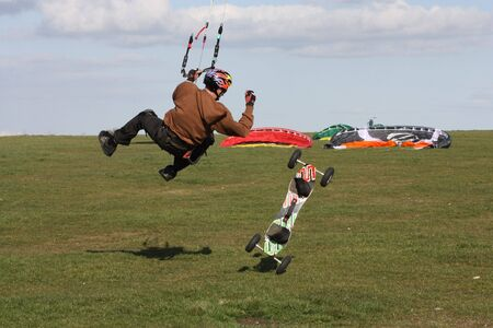 towed: Kite boarder on Westbury White Horse Wiltshire Engliand with room for text Stock Photo
