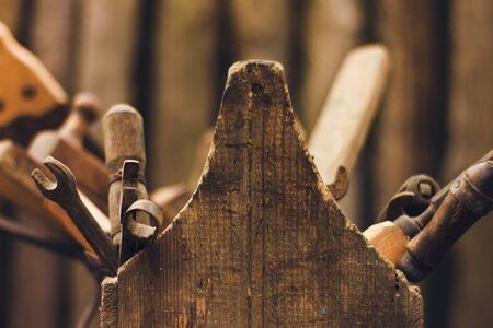 macro vintage tool box Stock Photo