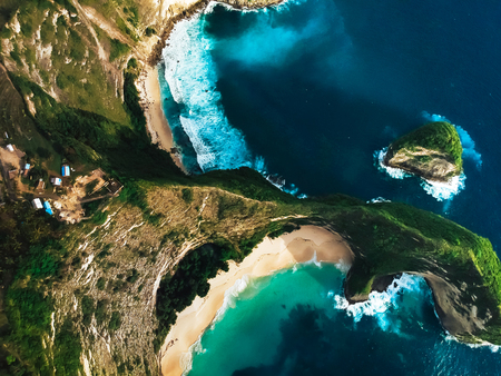 stunning,secluded beach surrounded by mountains ,the view from the top Stockfoto