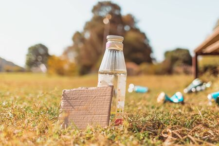 The concept of environmental pollution and ecology. A glass bottle stands in the grass with a cardboard box. In the background, a bench and abandoned banks. Copy space.