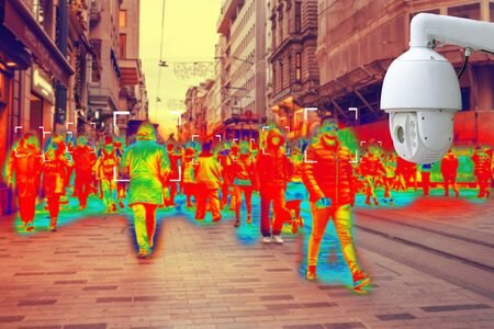 CCTV. Simulation of body temperature check by thermoscan or infrared thermal camera. Protection of sity streets. Standard-Bild