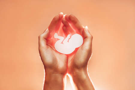 White paper embryo rest in hands of African-American or Asian woman. Soft focus. Orange background with the light from below. Pregnancy, contraceptive and abortion. Standard-Bild