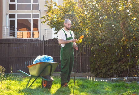 Tired gardener in green uniform cleans the rake from the leaves. Gardening and yard cleaning. Banco de Imagens