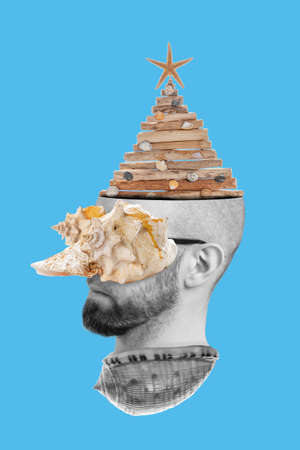 Collage of modern art. A man's head peeking out of a seashell, with a seashell on his eyes and a Christmas tree on his head. Blue background.