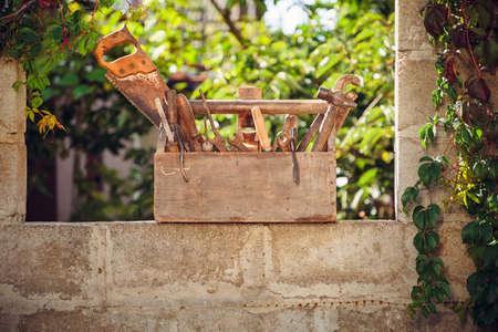 Vintage toolbox at the yard. Stok Fotoğraf