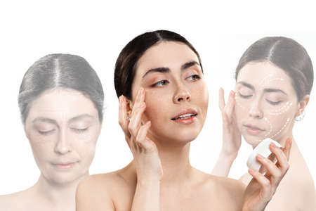Professional care cosmetics for the face. Three portraits of a Caucasian woman showing the stages of rejuvenation. White background. Concept of results before and after using cosmetics. Imagens
