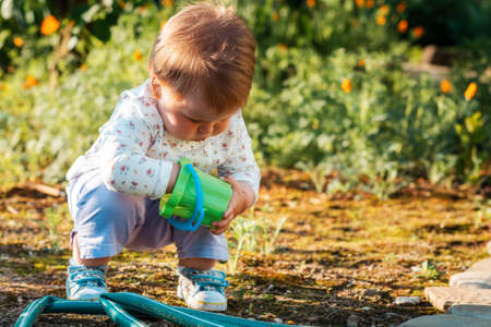 Gardening and harvesting. A cute baby girl is playing with a plastic toy bucket in the backyard.