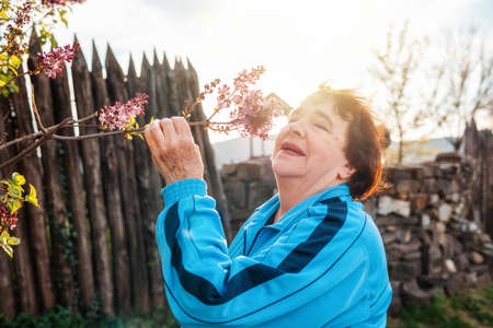 Portrait of a smiling elderly woman sniffing a branch of lilac. Springtime.