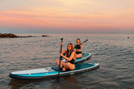 Summer sport recreation. Two pretty young women swimming on a sup board. In the background, the ocean and the sunset. Copy space. Surfing at the ocean.