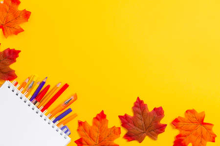 Copybook and colorful pencils on yellow background with maple leaves. Flat lay. Back to school banner with copy space. Education concept.