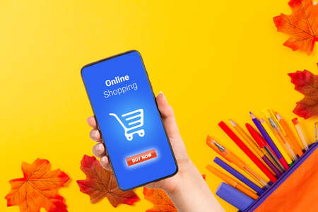Back to school. Hand holding a smartphone with internet store. Pencil box and pens on yellow background with maple leaves. Flat lay. Online shopping. Education concept.