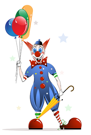 Cheerful clown with bright balloons Illustration