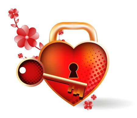 slot met sleuteltje: Hart-slot met een sleutel. Heldere vectorillustratie