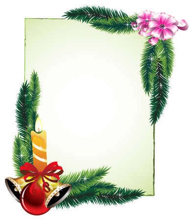 twigs: Bouquets of pine branches, candles and decorations. Festive frame. Illustration