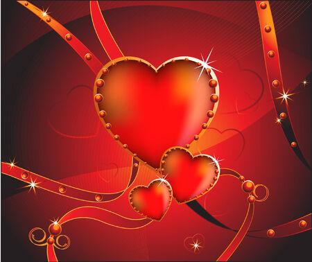 lizenzfrei: Funkelnde Herzen mit B�ndern.  Valentinstag.   Lizenzfreie freien Vektor-Illustration.