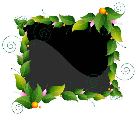 The frame of the garland of green leaves and wild flowers Vector
