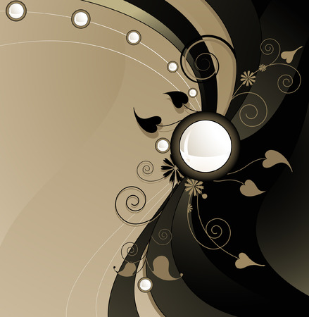 Extravagant brown and beige background with floral pattern Vector
