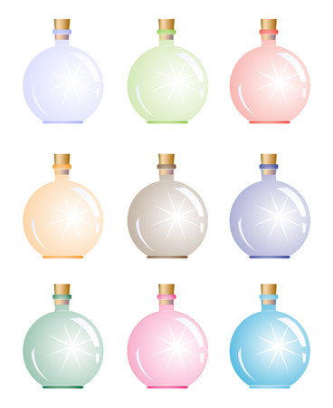 Sparkling magic bottle.  Vector