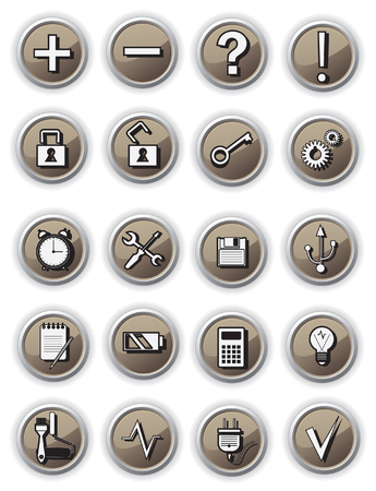 Brown technical buttons Stock Vector - 9044628