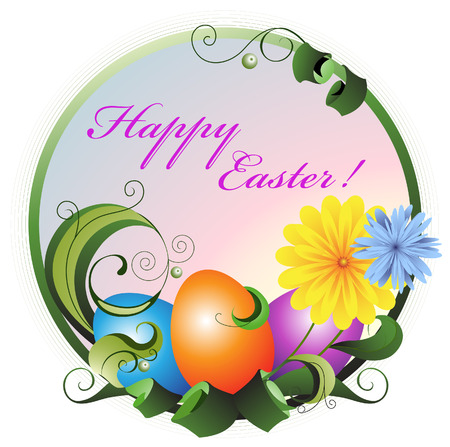 Easter eggs on the plant background. Easter Greeting card. Stock Vector - 9044611