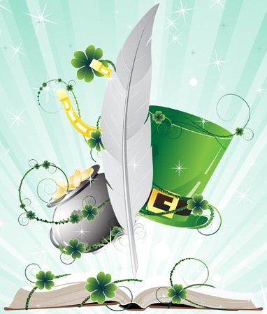 Fairy tales book. St. Patricks Day mystery Background. Vector