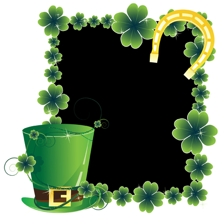 Leprechaun hat and a horseshoe on the clover frame. St. Patricks Day attributes.