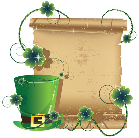Leprechaun hat on a background of an ancient manuscript Vector