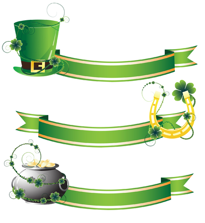 Hat, horseshoe and pot on ribbon background. Attributes of St. Patrick's Day Stock Vector - 9044644