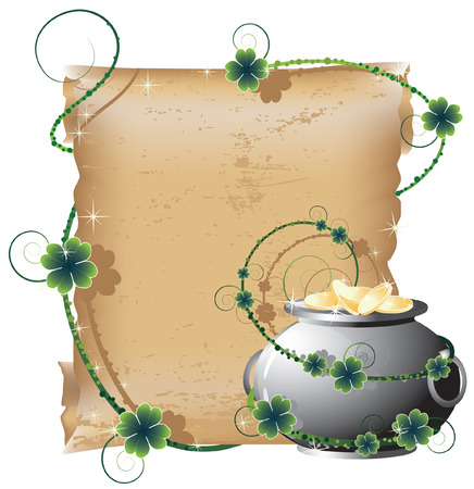 St. Patricks Day background  with a old scroll and a pot of gold Vector