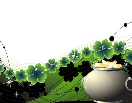 Pot with golden coins on an abstract floral background  Vector