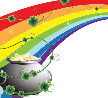 Pot of  leprechaun gold on the  rainbow background Иллюстрация