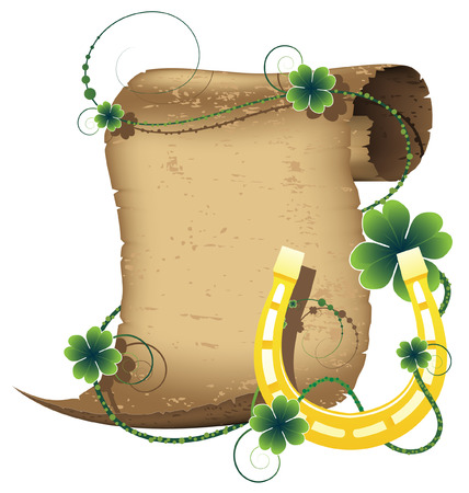 Ancient manuscript, and horseshoe. St. Patrick's Day symbols. Stock Vector - 9044642