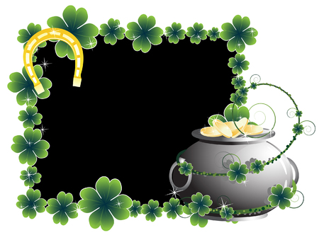 Pot of gold and a horseshoe on the frame of clover Stock Vector - 9044645