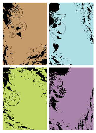 Set of color shabby frames with floral pattern. Grunge Style Stock Vector - 9130155