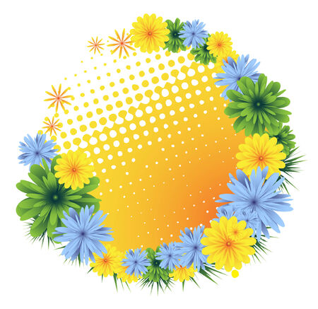 Colorful floral frame. Royalty free stock vector  illustration. Vector