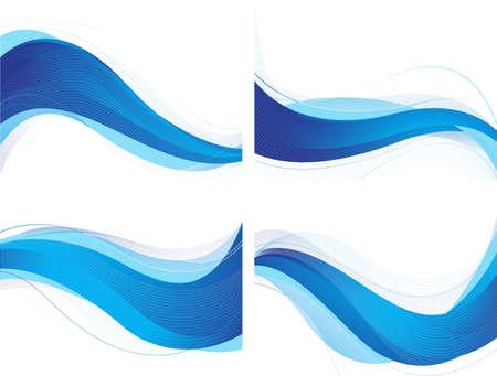 抽象的な青い波状の背景のセット